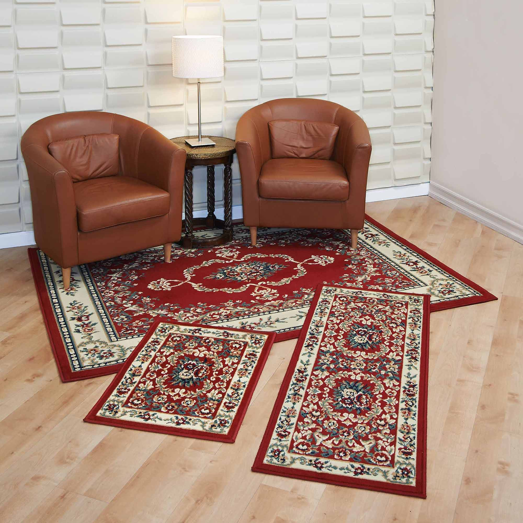 Capri 3 Piece Rug Set Savonnerie Red