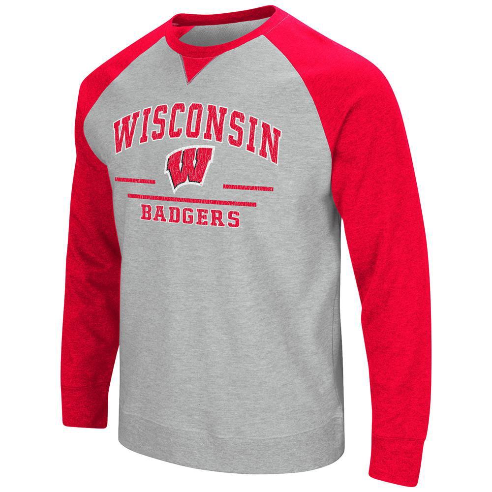Mens NCAA Wisconsin Badgers Crew Neck Sweatshirt (Heather Grey)