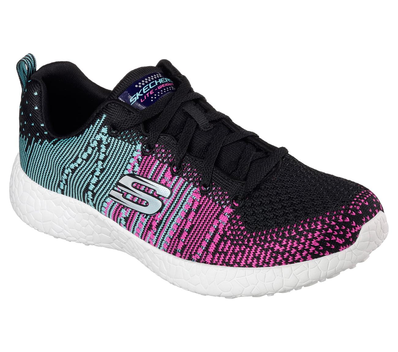 Details about Shoes Skechers Burst Ellipse Running Sneakers 12437 BBLP Woman Black Pink Blue