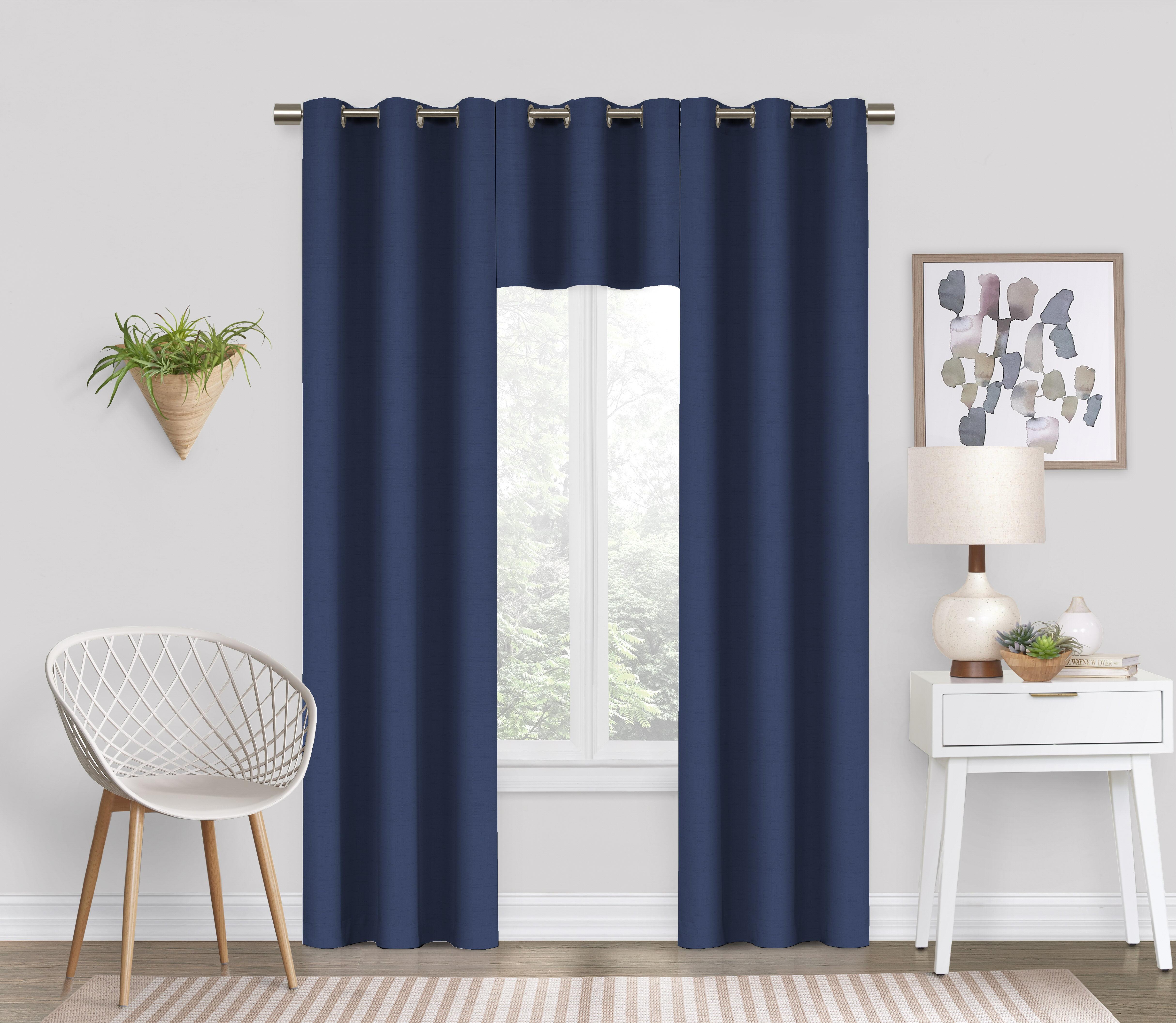 Eclipse Dayton Solid Color Blackout Grommet Single Curtain Panel Black 42 X 63 Walmart Com Walmart Com