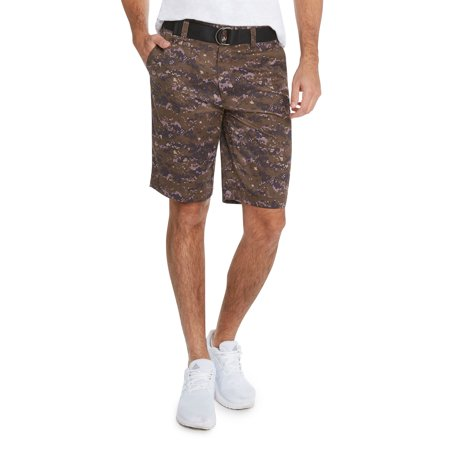9 Crowns Men's Flat Front Digital Camo Belted