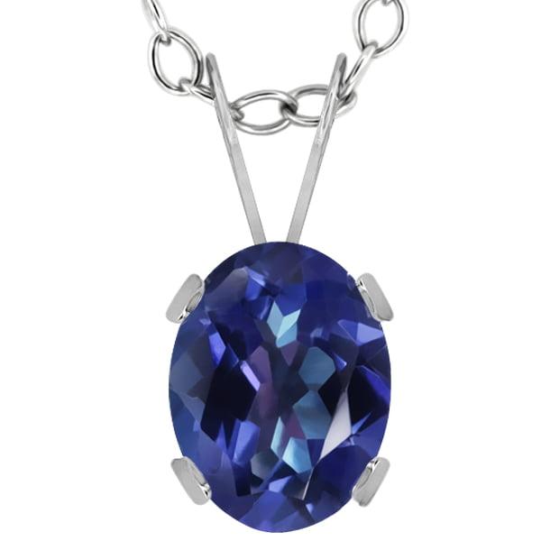 1.60 Ct Oval Purple Blue Mystic Topaz 14K White Gold Pendant