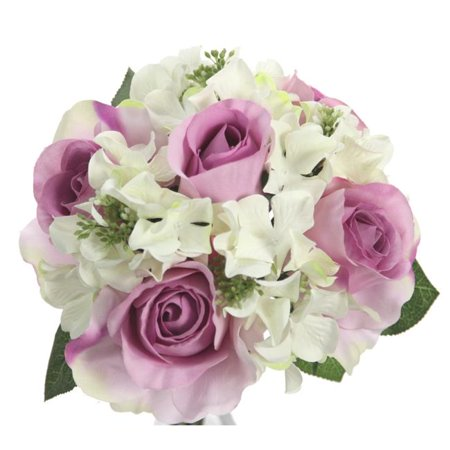 Admired By Nature GPB8359-LAV - CM 9 Stems Artificial Rose & Hydrangea Mixed Bouquet, Lavender & Cream