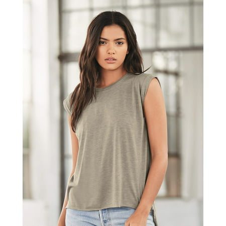 Bella + Canvas - Women's Flowy Muscle Tee with Rolled Cuffs - Fake Muscle Shirt