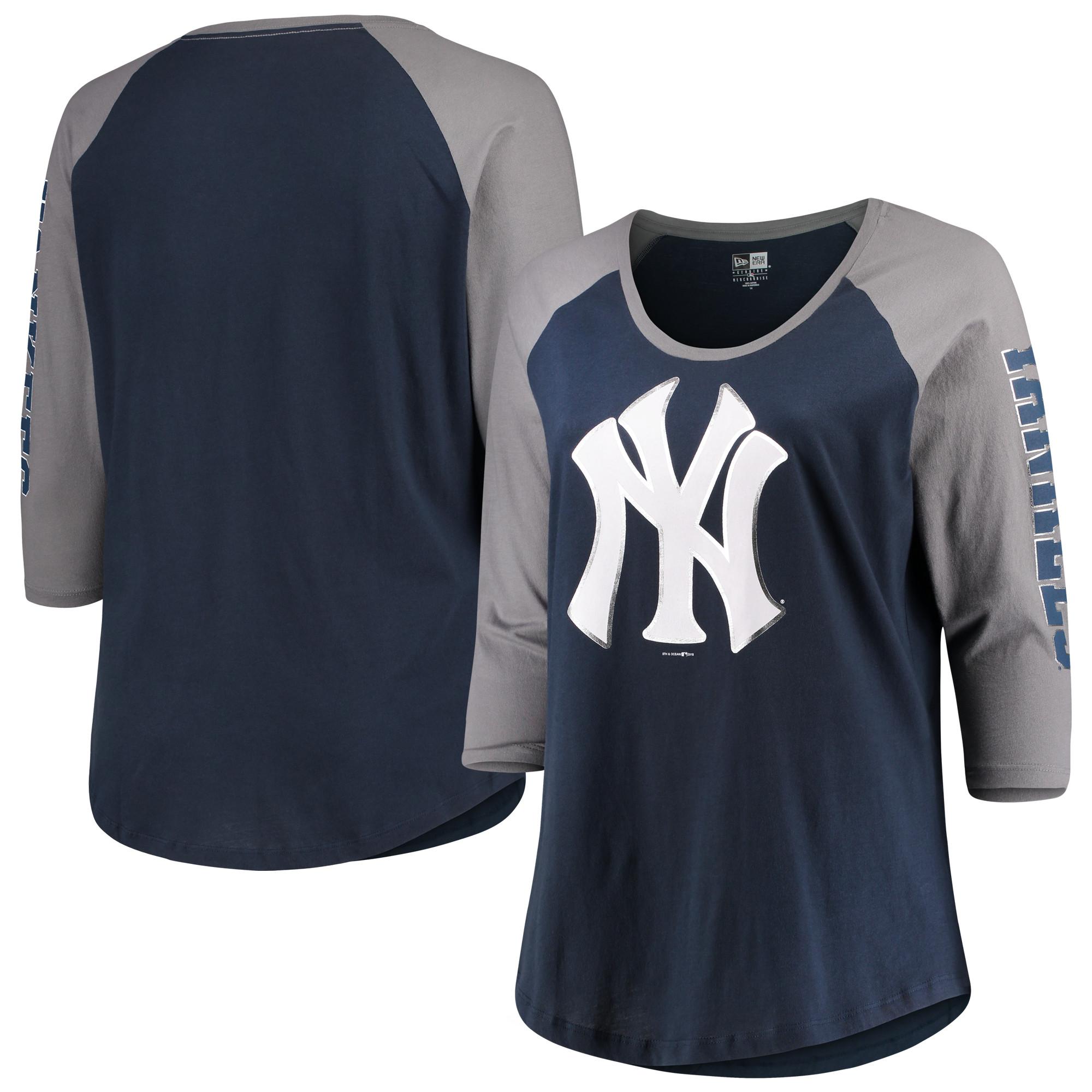New York Yankees 5th & Ocean by New Era Women's Plus Size Foil 3/4-Sleeve Scoop Neck T-Shirt - Navy/Gray