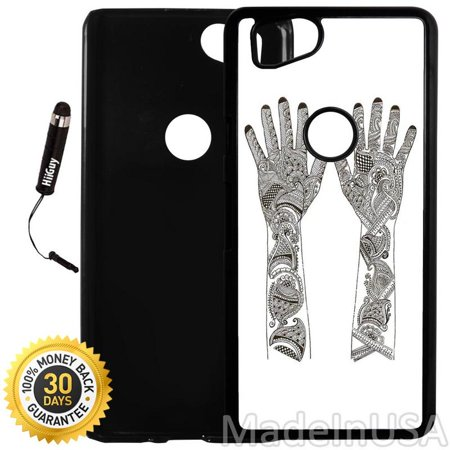 Custom Google Pixel 2 Case (Art of India Mehandi) Plastic Black Cover Ultra Slim | Lightweight | Includes Stylus Pen by