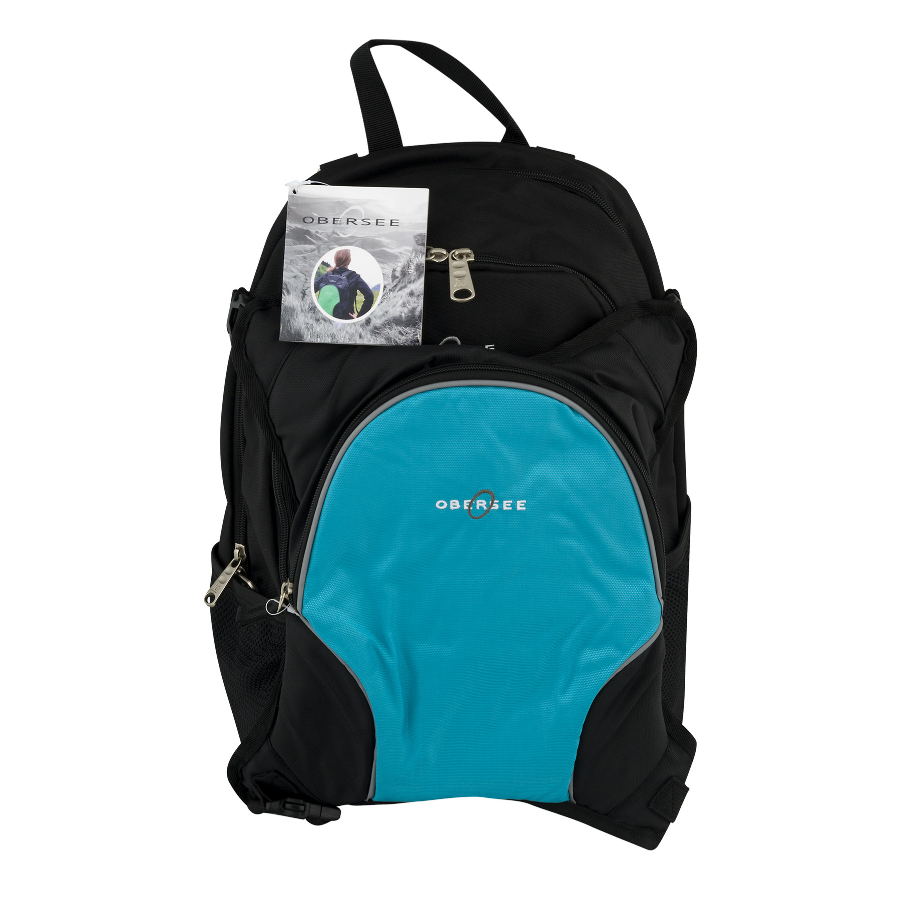 Obersee Rio Diaper Bag Backpack with Detachable Cooler, Black/Turquoise