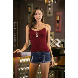 Women Knitted Strap Top Vest Camisole Red Vine