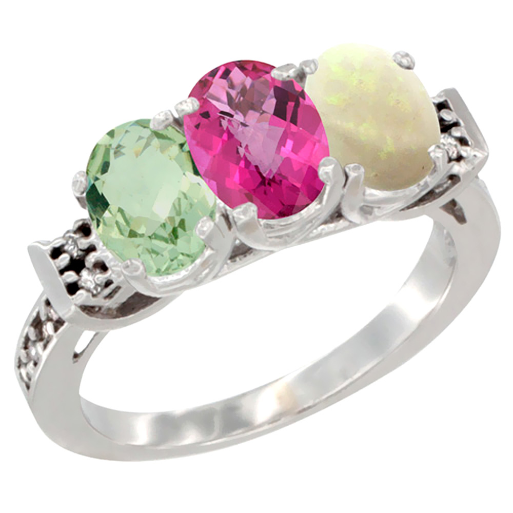10K White Gold Natural Green Amethyst, Pink Topaz & Opal Ring 3-Stone Oval 7x5 mm Diamond Accent, sizes 5 10 by WorldJewels