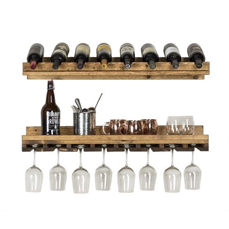 Rustic Luxe Wine Bottle and Stemware Rack Set, 36-Inch (Crisscross Wine Rack)