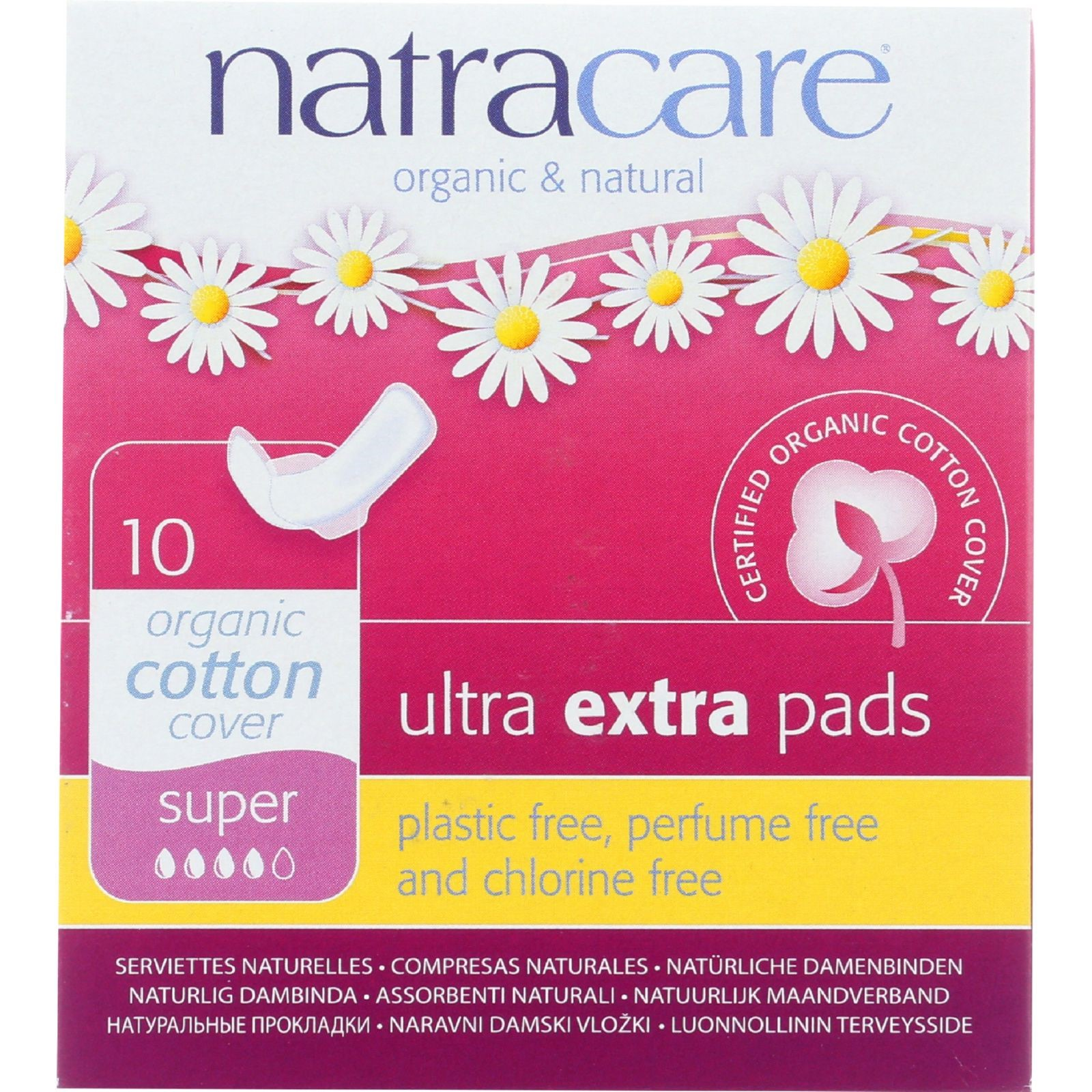 Natracare Natural Organic Ultra Extra Pads, Super, 10 Ct