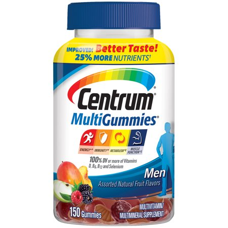 Centrum Men MultiGummies Multivitamin / Multimineral Supplement Gummies (Natural Cherry, Berry and Apple Flavor, 150 Count) Nutrition Now Rhino Gummy Bear