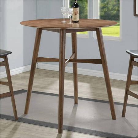 Coaster Mid Century Modern Round Bar Table Walnut Finish