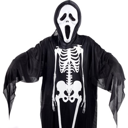 Halloween Skeleton Skull Screaming Ghost Costumes Mask  Evil Devil Robe Clothes for Children - Skeleton Makeup For Guys