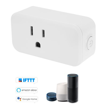 Mini Wifi Smart Socket Compact Size Rectangle Style with Energy Monitoring + Timing Function Bulgy On/Off Button Smart Alexa Outlet Support APP Remote Control Voice Control for Amazon Alexa (1 Pack)