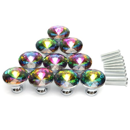 Meigar 10 pack Multicolored Cabinet Door Drawer Knob ,Colorful Diamond Crystal Dresser Glass Door Knob Pulls Handles for Cupboard Furniture Today