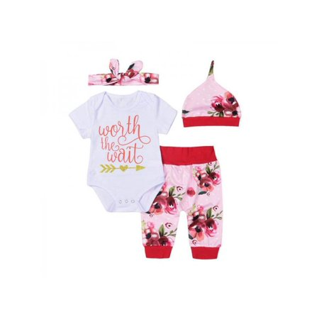 4Pcs/Set Baby Bodysuit Romper + Flower Pants + Hat Headband Outfits 103% Cotton Baby Girl Boy Clothes For Newborns](Halo Outfit For Sale)