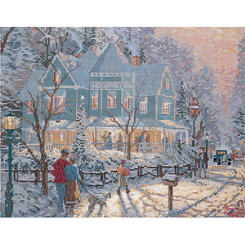"M C G Textiles Thomas Kinkade Holiday Gathering Counted Cross Stitch Kit, 14"" x 11"", 14 Count"