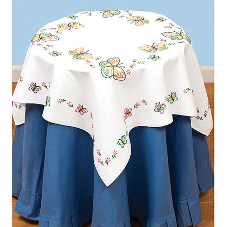 Jack Dempsey Stamped White Perle Edge Table Topper 35