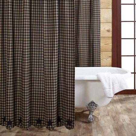 - Raven Black Primitive Bath Cody Black Star Rod Pocket Cotton Button Holes for Shower Hooks Appliqued Star Shower Curtain