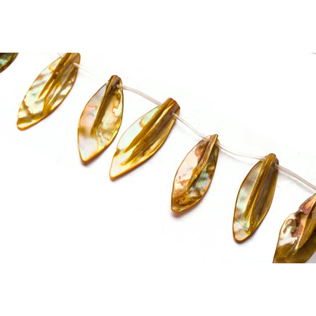 Gold Mother-Of-Pearl Top Drilled Leaf Shell Beads Size:45x20mm - Leaves Of Gold