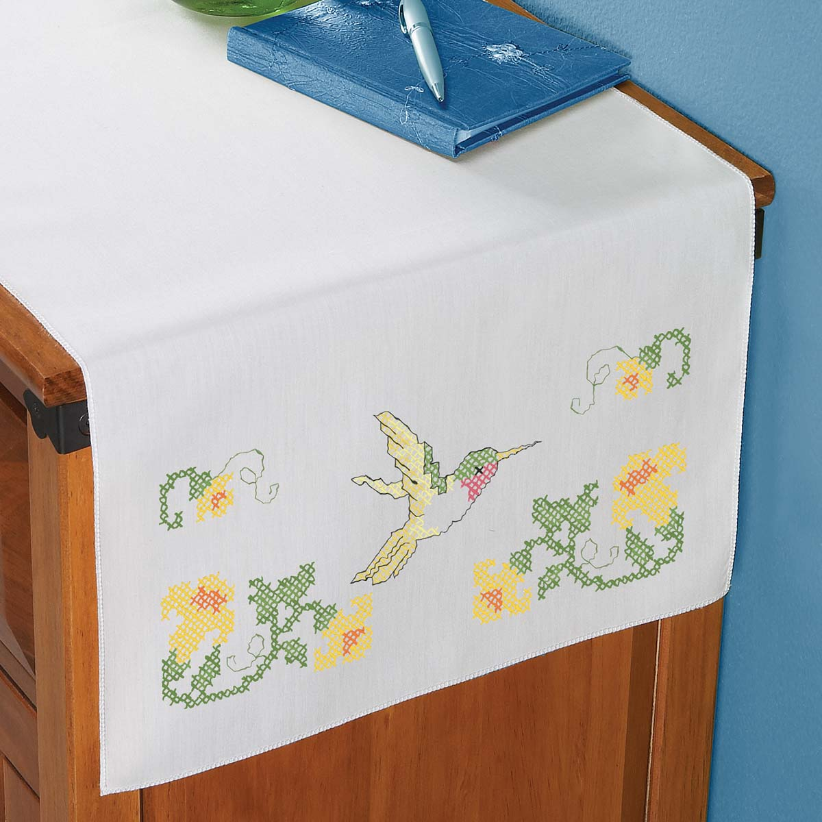 Herrschners® Glorious Hummingbird Dresser Scarf Stamped Cross-Stitch