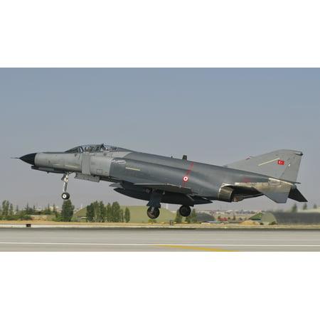Turkish Air Force F-4 Phantom at Konya Air Base Turkey Canvas Art - Giovanni CollaStocktrek Images (37 x 21)