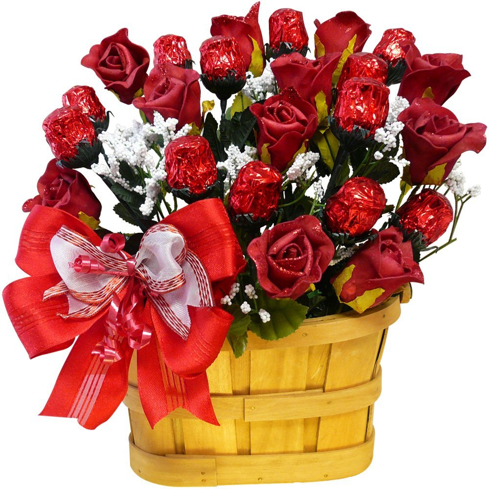 Sweetheart Chocolate Rose Candy Bouquet - 1 Dozen Red Chocolate ...