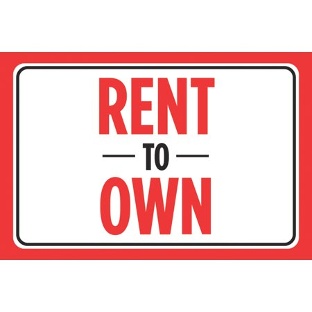 Rent To Own Print Red Black Signs Window Poster Real Estate Business Office Car Auto Sign