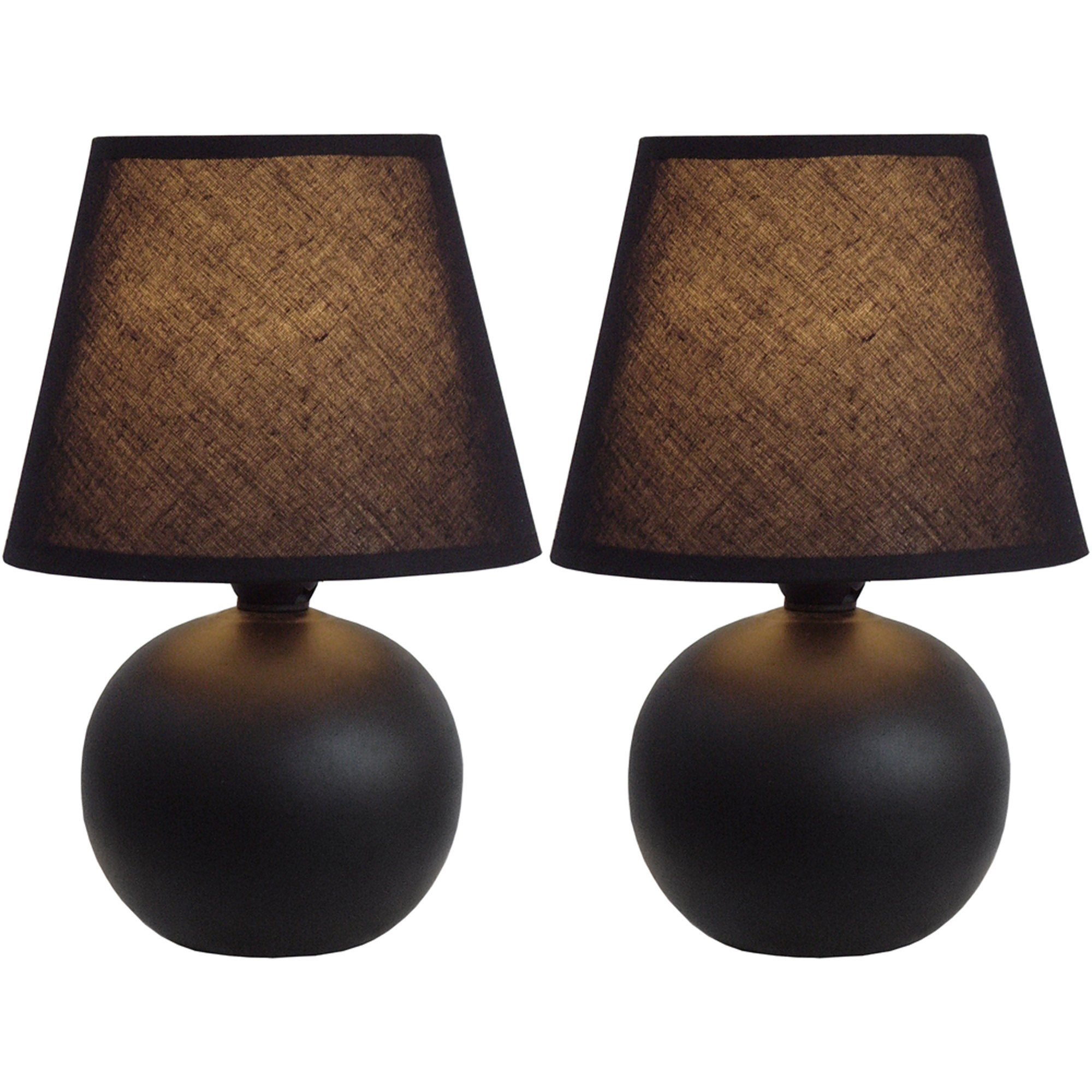 Simple Designs Mini Ceramic Globe Table Lamp 2-Pack Set