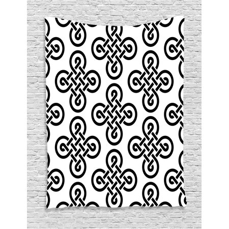 - Celtic Decor Tapestry, Old-Fashion Irish Knot Motifs Symmetric Regular Design European Culture Theme, Wall Hanging for Bedroom Living Room Dorm Decor, 40W X 60L Inches, Black White, by Ambesonne