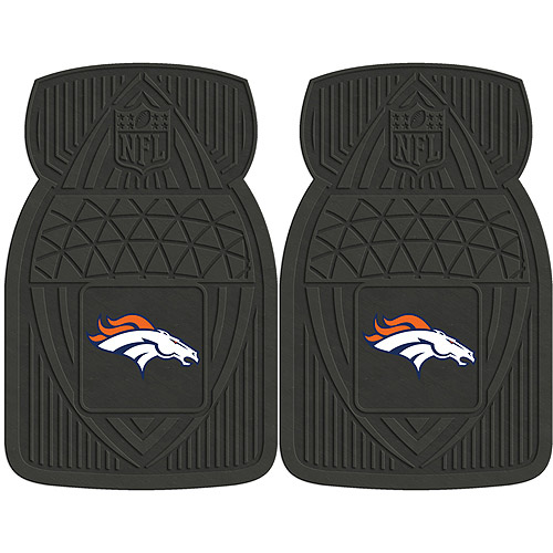 NFL 2-Piece Heavy-Duty Vinyl Car Mat Set, Denver Broncos - SPORTS LICENSING SOLUTIONS