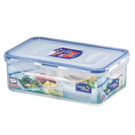 Lock & Lock Easy Essentials On the Go Meals Divided Rectangular Food Storage Container,