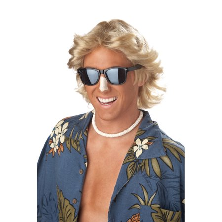 Mens 70s Blonde Feathered Halloween Costume Wig - 70s Mens Wig