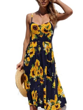 e792a3f279b3 Product Image Women Holiday Strappy Floral Maxi Dresses Summer Beach Party  Midi Swing Sundress