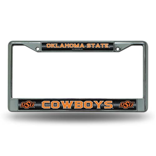 Oklahoma State Laser Etched Chrome License Plate Frame (Glitter)