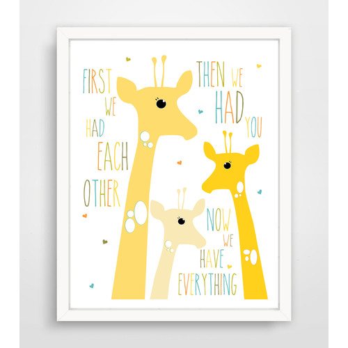 Finny and Zook First We Had Each Other Yellow Giraffe Paper Print