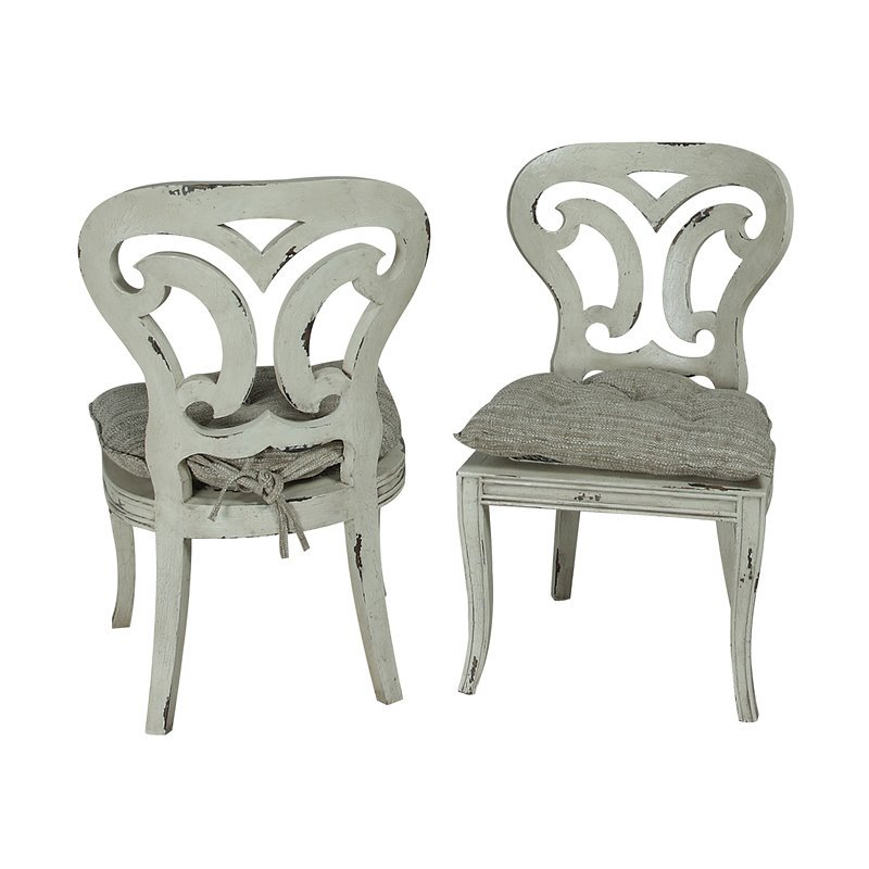 GuildMaster Artifacts Dining Chair in White (Set of 2)