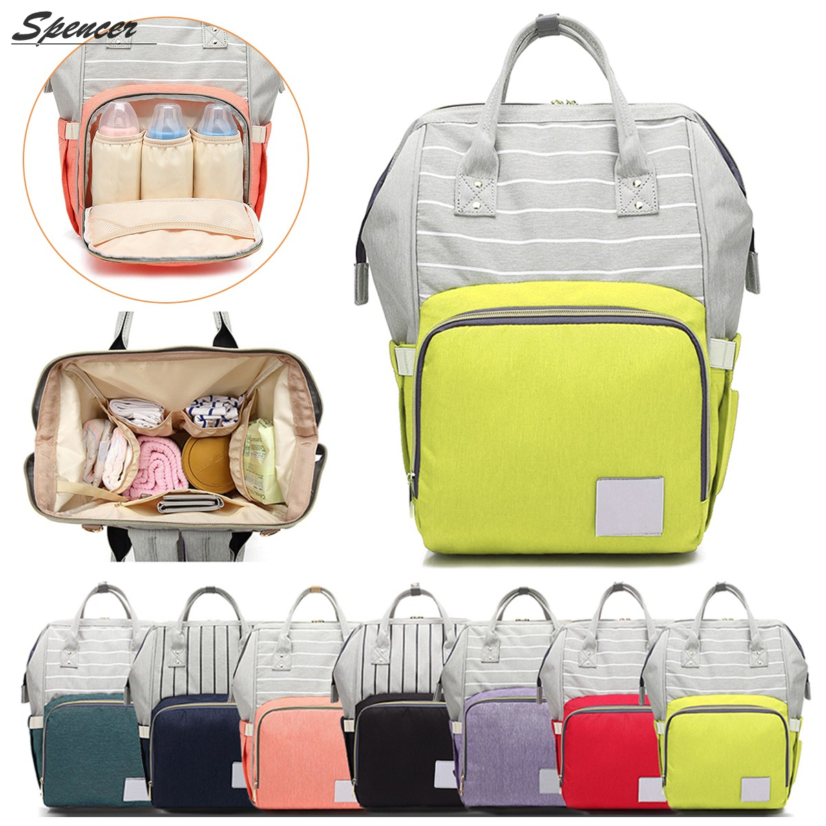 Spencer Diaper Bag Backpack Multi-Function Waterproof Travel Maternity Nappy Bag for Baby Care, Large Capacity, Stylish and Durable (Yellow)