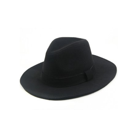 Classic Vintage Winter Wide Brim Fedora Hat 961SH