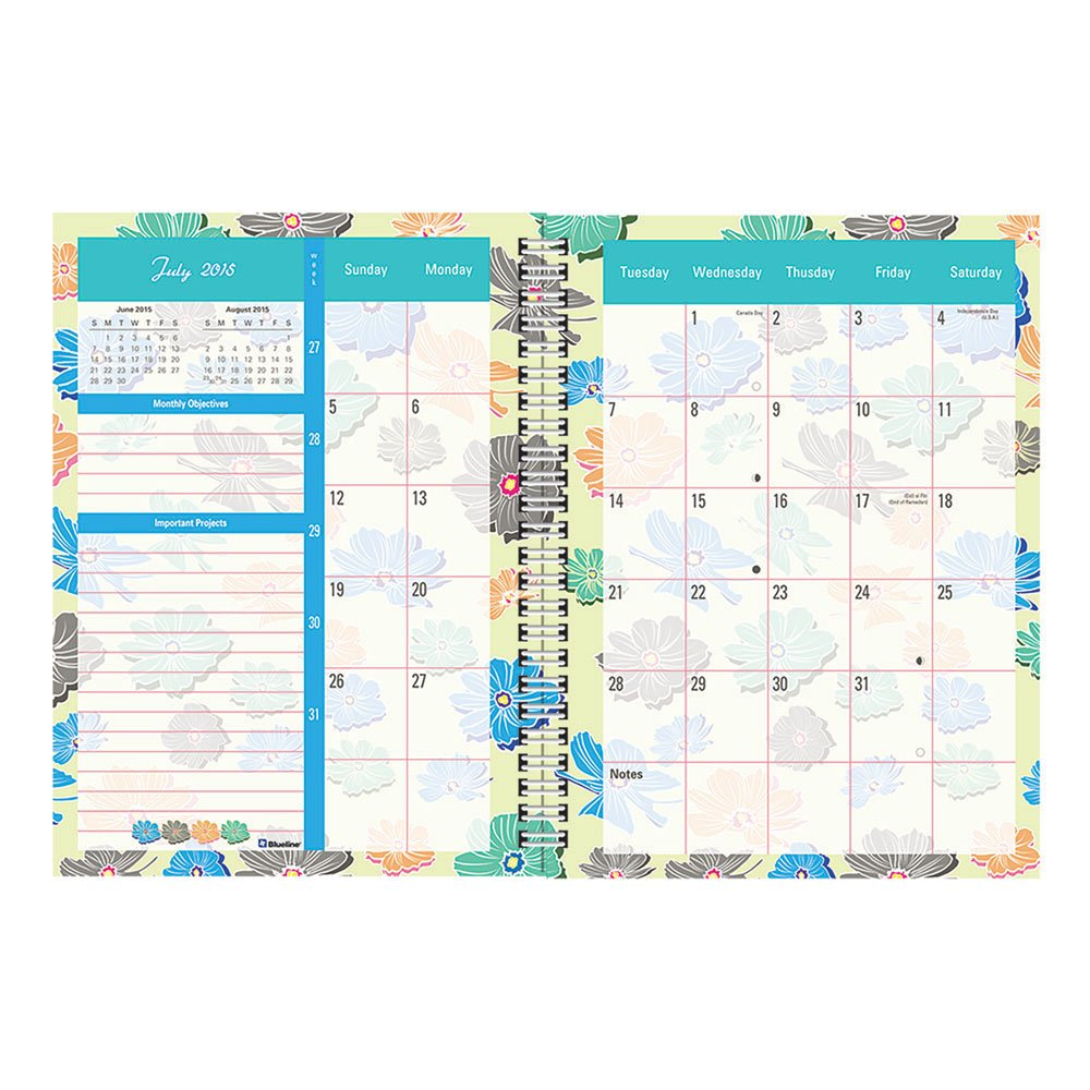 "Rediform Blossom Weekly Academic Planner - Weekly - 7.63"" X 10.25"" - 1.1 Year - July 2015 Till July 2016 1 Week Double Page Layout - Poly - Assorted (ca859pt-asx_35_2)"