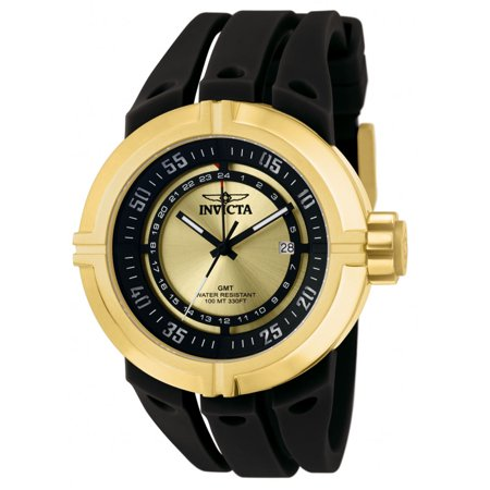 Invicta Men's 0834 Force Contender Gold Tone Dial Black Rubber Strap GMT Watch