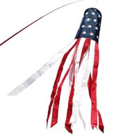 ANLEY 40 Inch American Flag Windsock, Stars & Stripes Patriotic Decorations - Embroidered Stars and Fade Resistant - 3.3 Feet