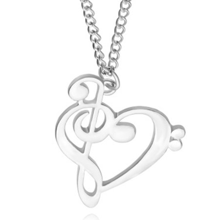 Fancyleo   2 Pcs Music Note Symbol Heart Shape Reble and Bass Clefs Pendant Necklace Minimalist Jewelry for Music Lover
