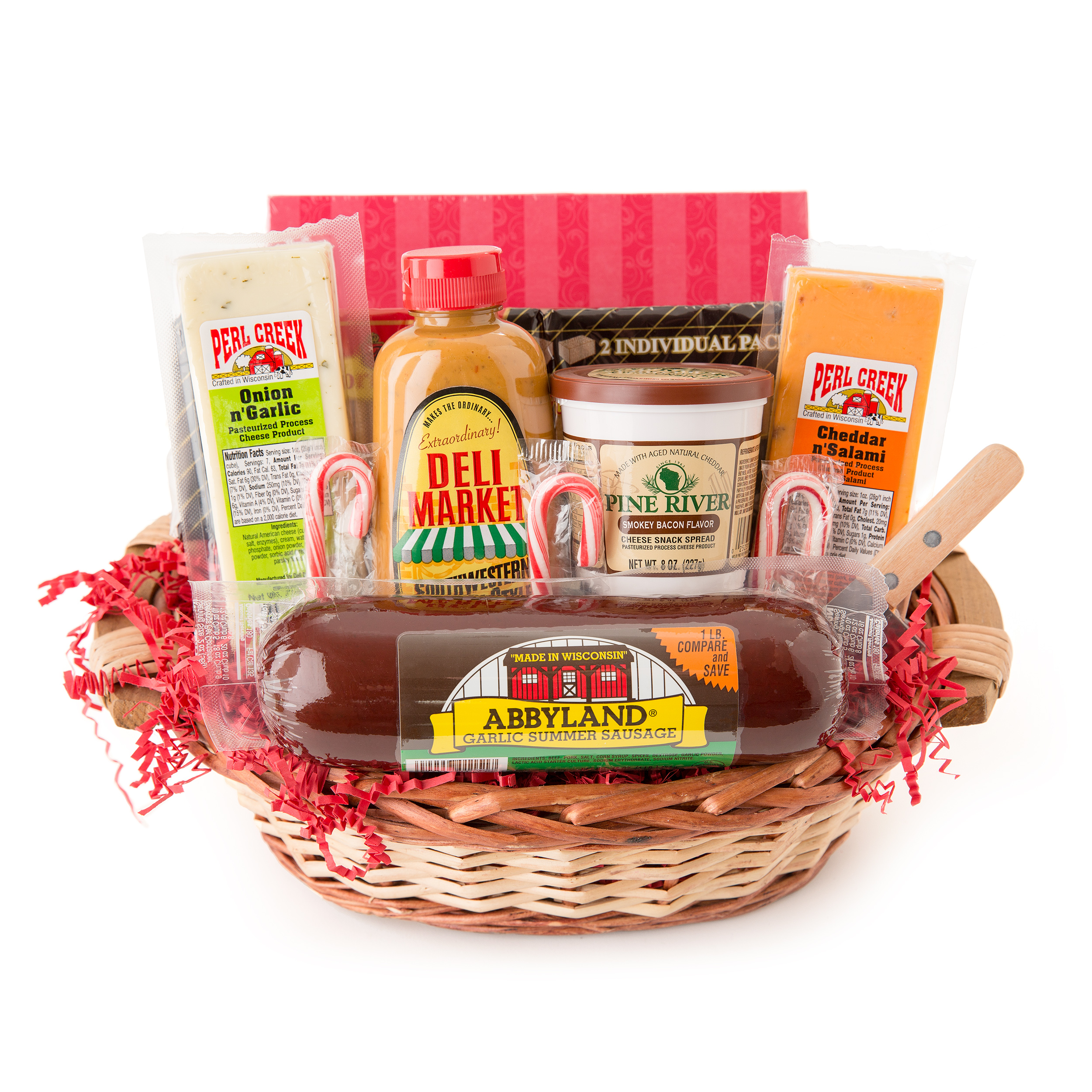 Holiday Party Favorites Gourmet Summer Sausage and Cheese Small Gift Basket
