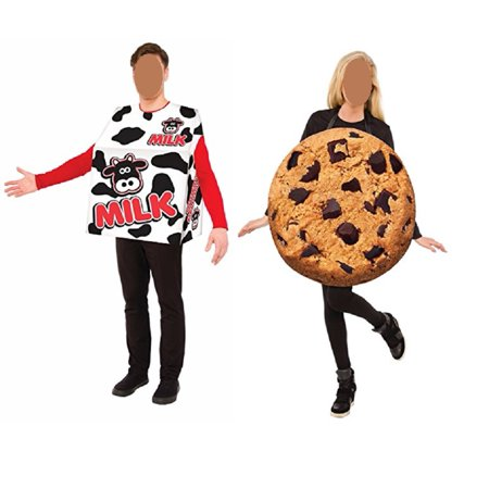 Milk and Cookie Couples Adult Standard Costume Set Men Women One Size Halloween (Celebrity Couples For Halloween Ideas)