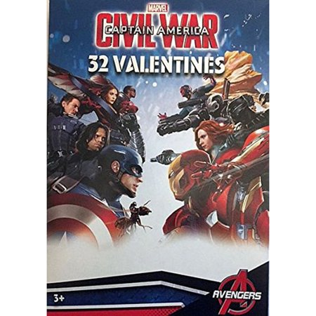 Captain America Civil War 32 Fold and Seal Valentine Day Cards](Avengers Cards)