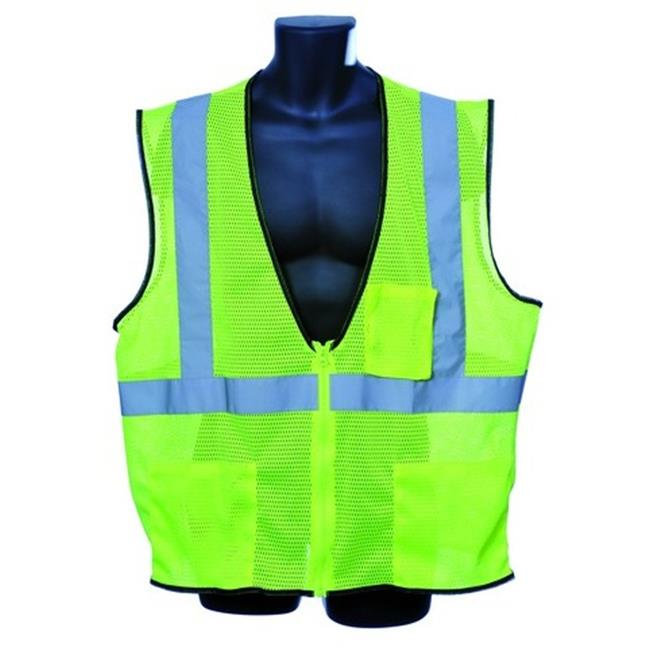 Class II Zipper Front Green Safety Vest Extra Large Case Of 30