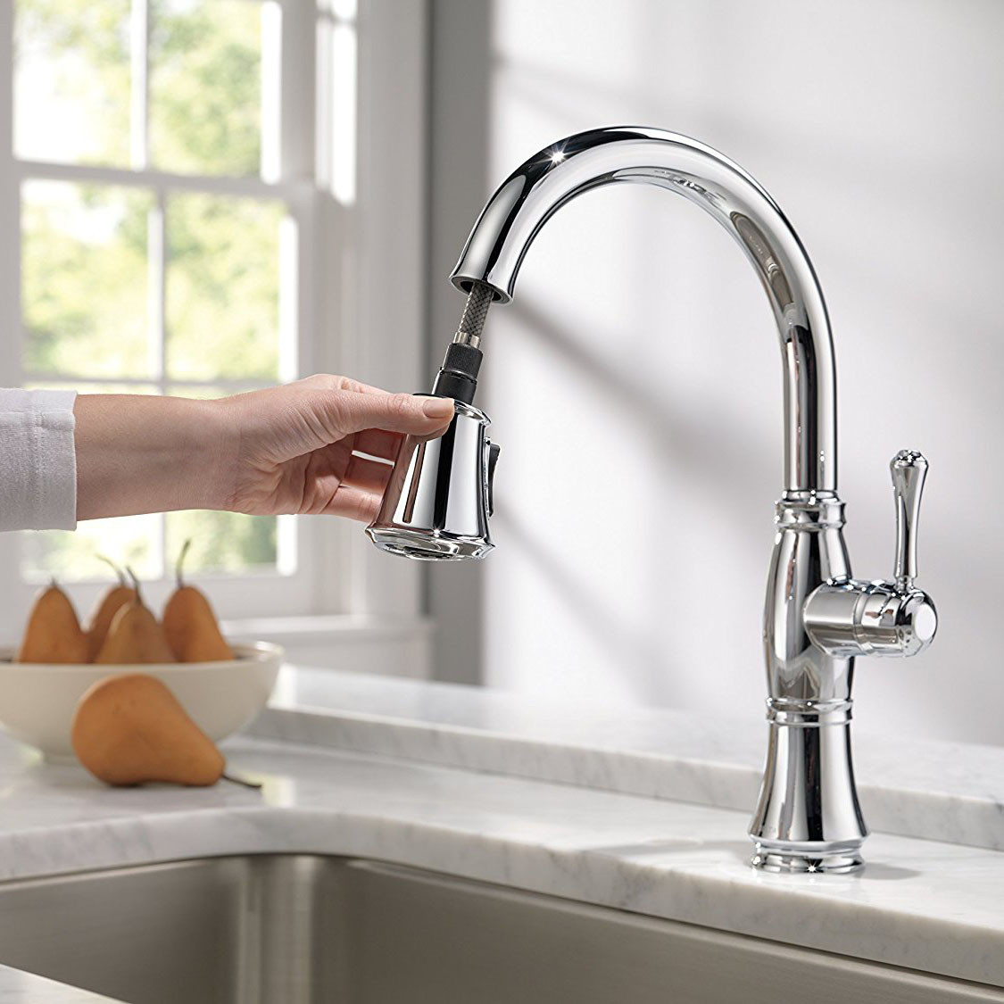 delta cassidy kitchen faucet with pull-down spray, available in