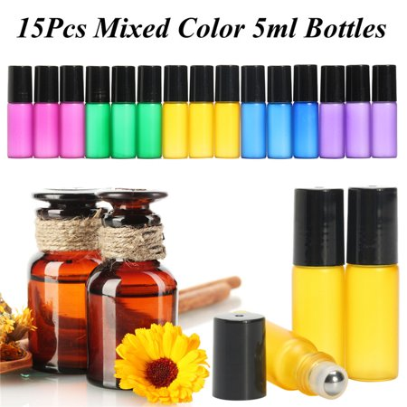 Glass Roll On Bottles Empty Roller Ball Containers 15 Set for 5 ml Essential Oil ()